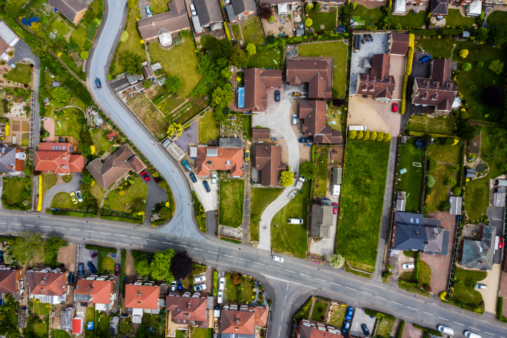 Aerial view looking down on a residential street