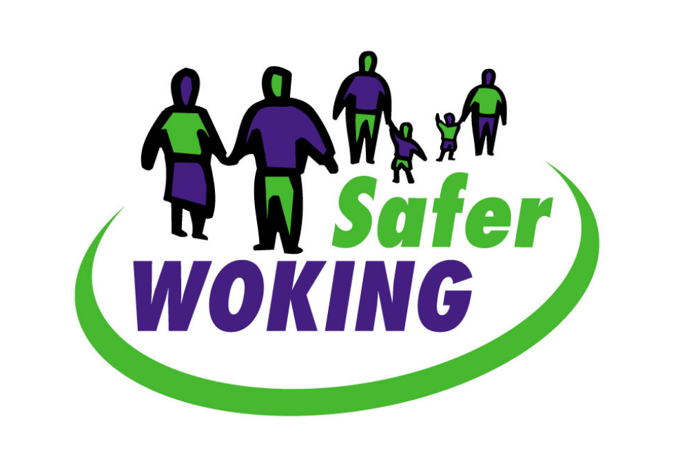 Safer Woking logo showing groups of people holding hands